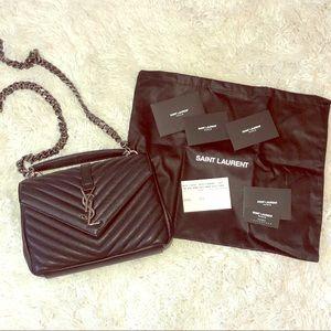 {Saint Laurent} Black Collège Crossbody Bag
